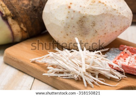 Peeled fresh and raw taro or yam on wood cutting board for food preparation background - stock photo