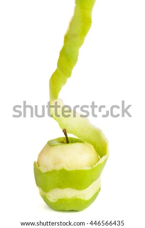 Peeled green apple isolated on white background - stock photo
