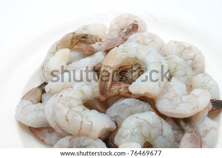 Peeled Green Prawn isolated on white