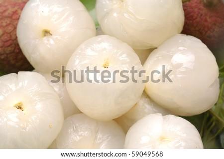 peeled lychee background - stock photo