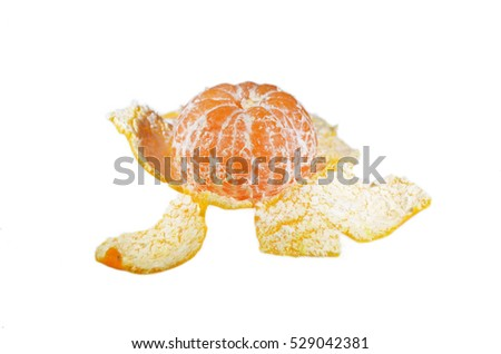 Peeled Mandarin and peel isolated on white background closeup
