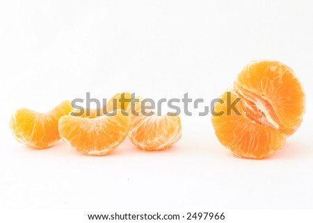 peeled mandarin isolated on white background