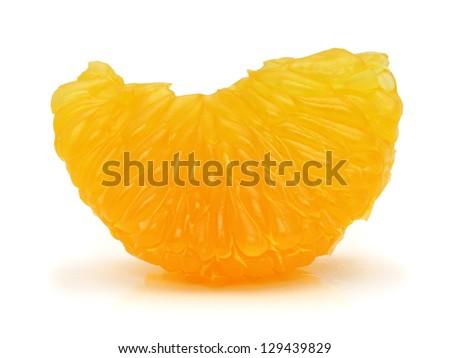 Peeled mandarin orange segment on white background - stock photo