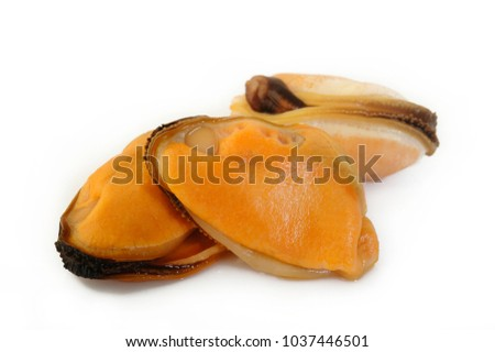 peeled mussel on white background