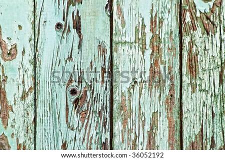 Peeled paint on wooden background - stock photo