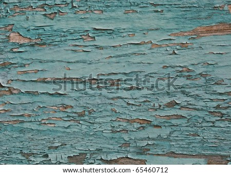 peeled paint over wood boards from a boat hull - stock photo