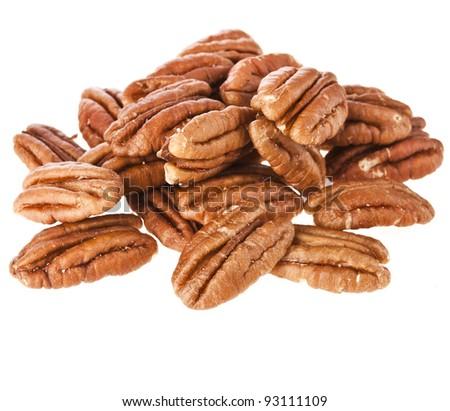 Peeled pecan nuts isolated on white background - stock photo