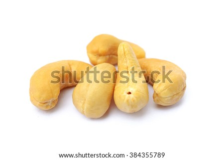 Peeled salted cashews isolated on a white background - stock photo