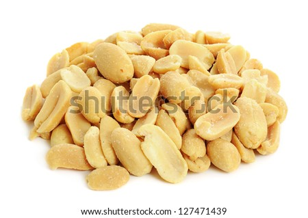 Peeled salted peanuts isolated on white background - stock photo
