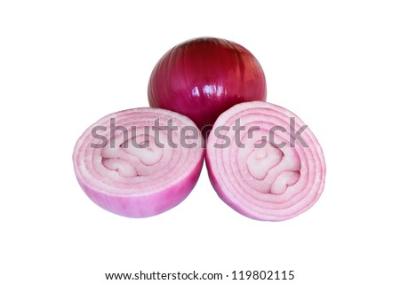 Peeled sliced pink onions isolated on white background