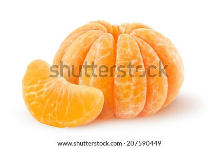 Peeled tangerine over white background - stock photo