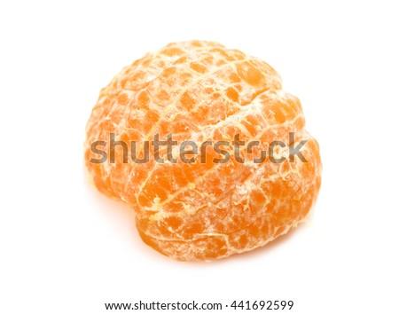 Peeled tasty sweet tangerine orange mandarin fruit isolated on white background - stock photo