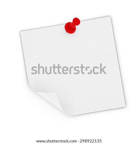 Peeling Blank White Sticky Note Pinned to white background - stock photo