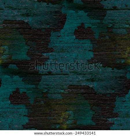 peeling blue paint on the old black boards, seamless pattern - stock photo