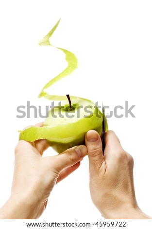 Peeling green apple - stock photo