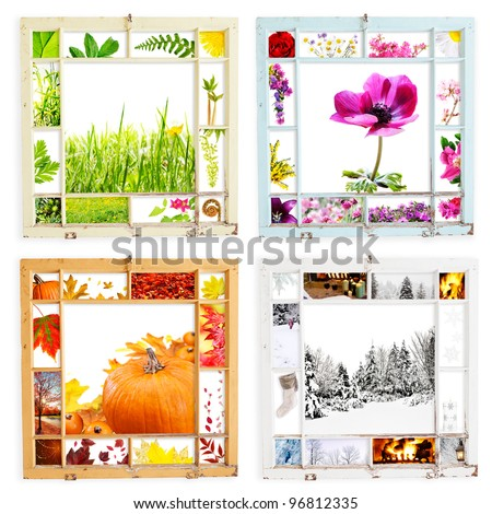 Peeling grungy wood window frames with seasonal images - with clipping paths - stock photo
