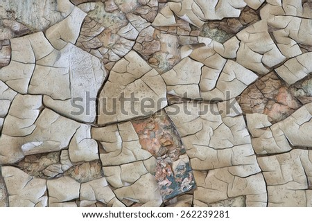 Peeling Paint on a Wall in Eastern State Penitentiary, Philadelphia, Pennsylvania - stock photo