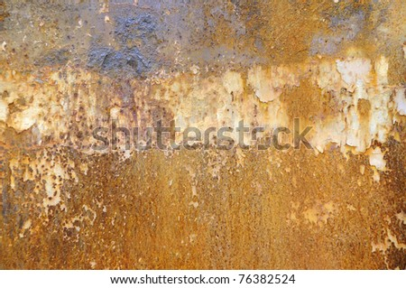 peeling paint on rusty metal plate as background - stock photo