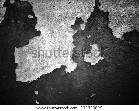 Peeling paint on the wall black and white color background texture