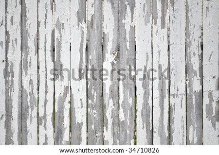 peeling paint on white picket fence - stock photo