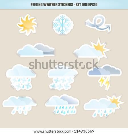 Peeling Weather Sicker Icons - Set One. Raster Version. - stock photo