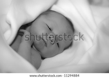 peeping baby - stock photo