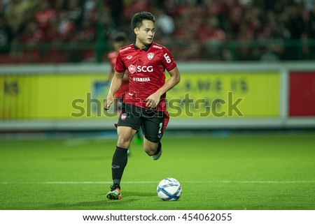 Peerapat Notchaiya of Muangthong United. in action during  theThai Premier League 2016 Bangkok Glass FC.and Muangthong United at Leo Stadium on June 29,2016 in Thailand - stock photo