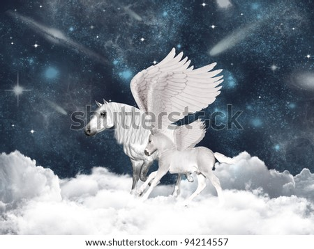 Pegasus family - stock photo