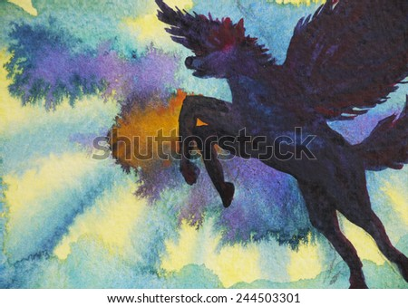 pegasus horse in twilight background sky - stock photo