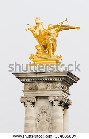 Pegasus statue in Alexandre III bridge, Paris. - stock photo
