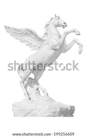 Pegasus statue isolated on white - stock photo