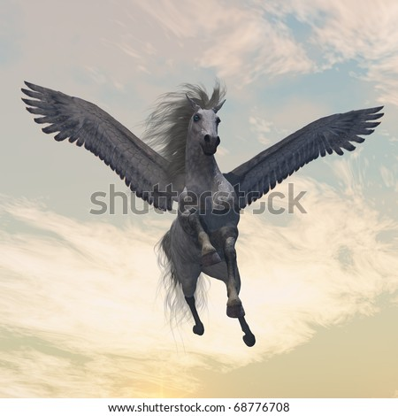 PEGASUS 2 - The fabled creature of myth and legend, the white Pegasus, flies with beautiful wings. - stock photo