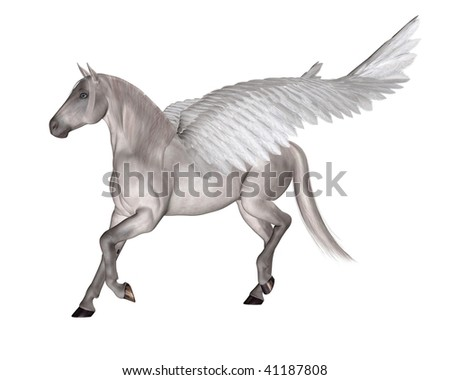 Pegasus the Flying Winged Horse of Greek Mythology - stock photo