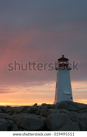 Peggy's Cove lighthouse at sunset. Photographed in Nova Scotia, Canada in September 2009