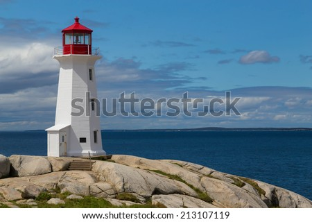 Peggy's Cove Lighthouse during the day with copyspace - stock photo