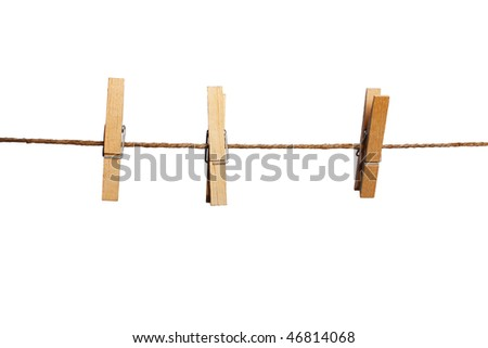 pegs on clothesline with white background