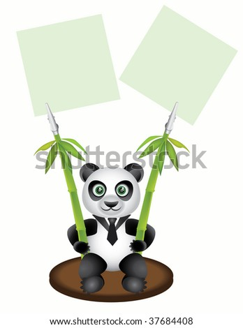 Pegs paper in the form of pandas. Rastered image, see vector version in my portfolio - stock photo