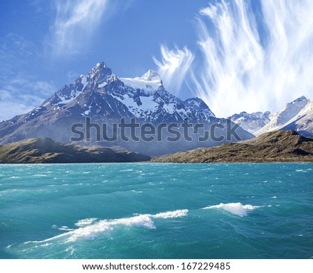 Pehoe mountain lake in Los Cuernos (The Horns), National Park Torres del Paine, Chile.  - stock photo