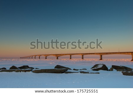 PEI Confederation Bridge at sunrise in the middle of the winter, Prince Edward Island