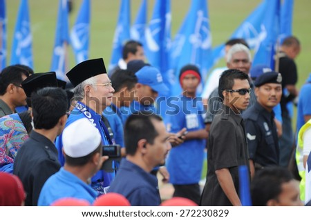 PEKAN, MALAYSIA - APRIL 20 : Prime minister Mohd Najib Abdul Razak during nomination day on April 20, 2013 in Pekan, Pahang, Malaysia. Malaysian Prime Minister dissolved Parliament on April 3rd.