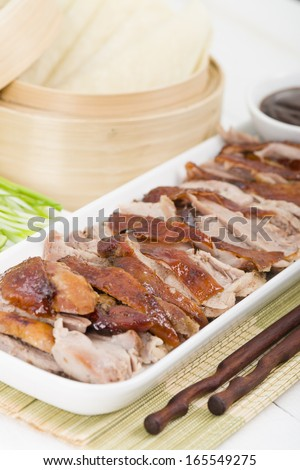Peking Duck Chinese Roast Crispy Duck Served With Hoisin Sauce Pancakes Cuber And