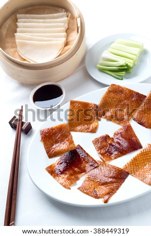 Peking Duck Set On The White Tablecloth One Of Famous Chinese Food