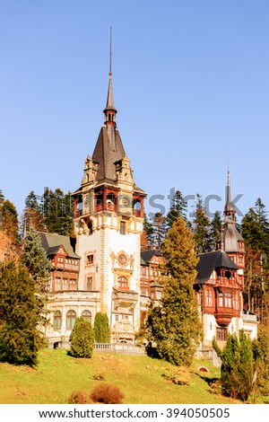 Peles Castle landscape, Carpathian mountains, Romania
