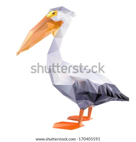 pelican geometric (illustration of a many triangles)  - stock photo