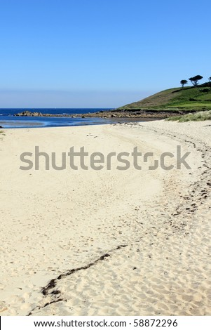 Pelistry beach in St. Mary's, Isles of Scilly Cornwall UK. - stock photo
