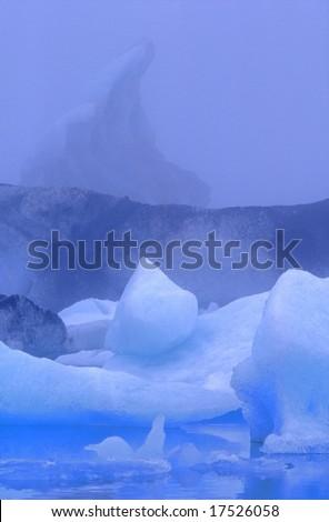 Pell-mell of icebergs in blue color?s range, Jokulsarlon lagoon, Iceland - stock photo
