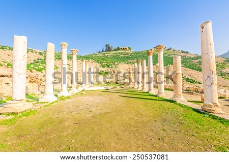 Pella is the site of ancient ruins in northwestern Jordan. It is known as Tabaqat Fahl.  - stock photo