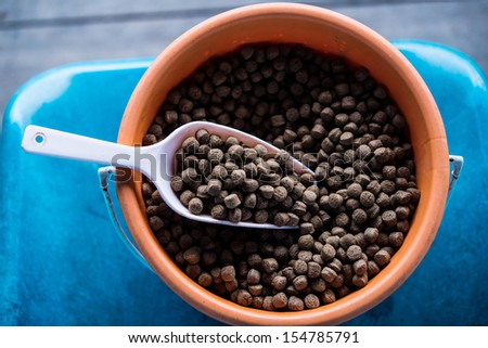pellet,food for fish - stock photo