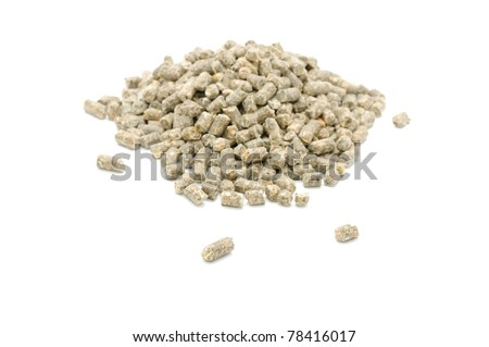 Pelleted Compound Feed for Cattle Isolated on White Background