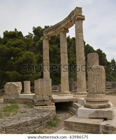 Peloponnesus, The Philippeion building remains at ancient Olimpia archaeological site in Greece - stock photo